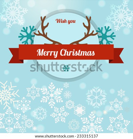 merry christmas illustration with ribbon and reindeer horn - stock vector