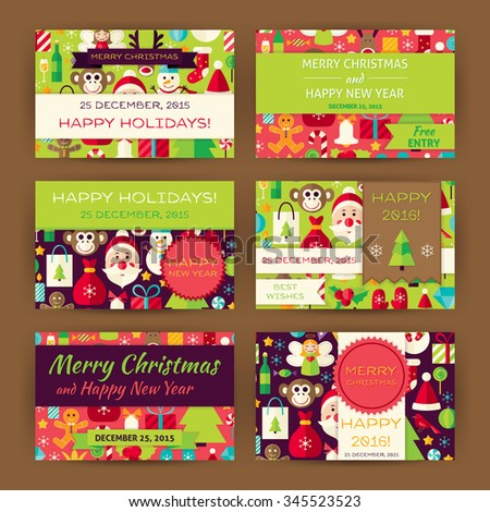 Merry Christmas Invitation Template Set. Flat Design Vector Illustration of Brand Identity for Winter Holiday Promotion. Happy New Year Colorful Pattern for Advertising. - stock vector