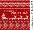 Merry Christmas knitted seamless background with Santa, deers and sign - stock vector