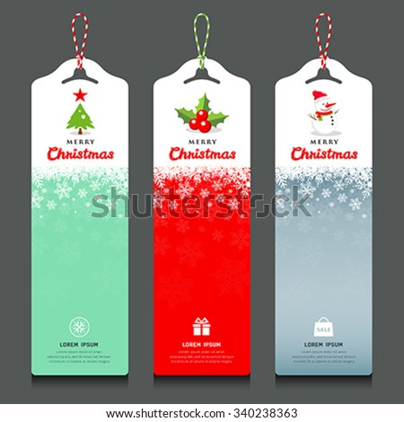 Merry Christmas label and rope vertical design background, vector illustration - stock vector