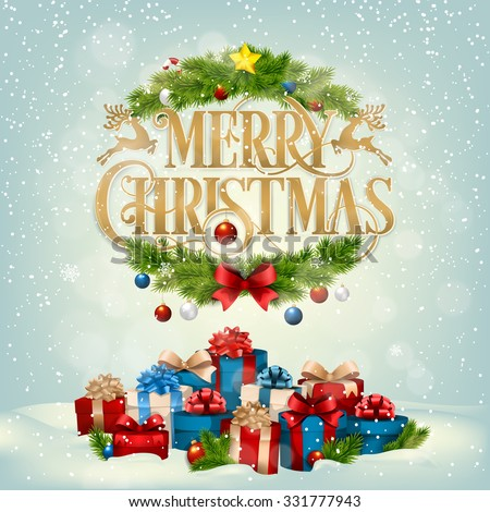 Merry Christmas Landscape, Typographical Background With Christmas Elements - stock vector