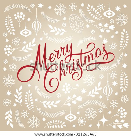 Merry Christmas Lettering  - stock vector