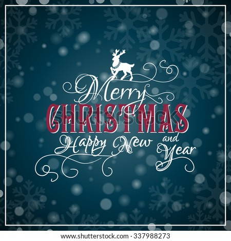 Merry Christmas lettering. Congratulations card. Vector illustration - stock vector