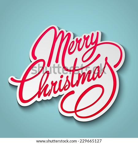 Merry Christmas Lettering Design. Vector illustration.  - stock vector