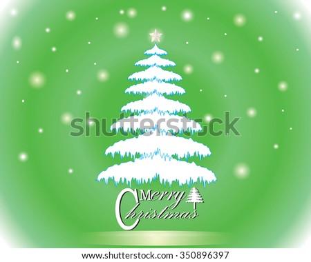 Merry Christmas lettering green tree background, vector illustration - stock vector