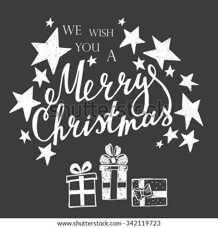 Merry Christmas Lettering on a black background with handdrawn design elements. - stock vector