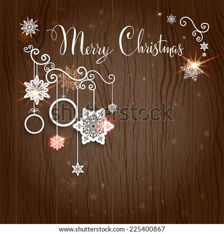 Merry Christmas lettering on wood backdrop. Vector design with place for text. - stock vector