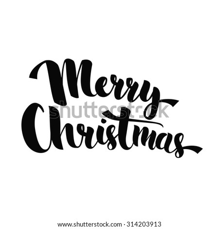 Merry Christmas - lettering phrase for greeting cards, posters, promo. Handwritten calligraphy text, vector isolated on white background. - stock vector