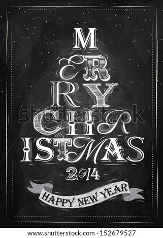 Merry Christmas lettering tree from letters stylized for the drawing with chalk on the blackboard. Vector  - stock vector