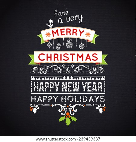 Merry Christmas lettering. Vector typography, chalkboard - stock vector