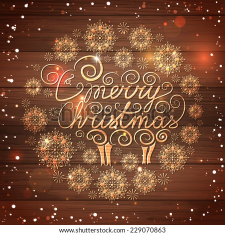 Merry Christmas lettering with hand drawn sheep and snowflakes and blurred bokeh lights over wooden background. Shining abstract background. Vector illustration. - stock vector
