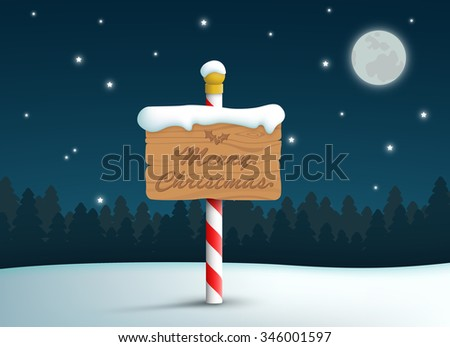 Merry Christmas Logo Wooden Sign On Pole With Snow And Stars Background - stock vector