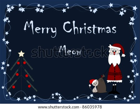 Merry Christmas - meow - santa and cat - stock vector