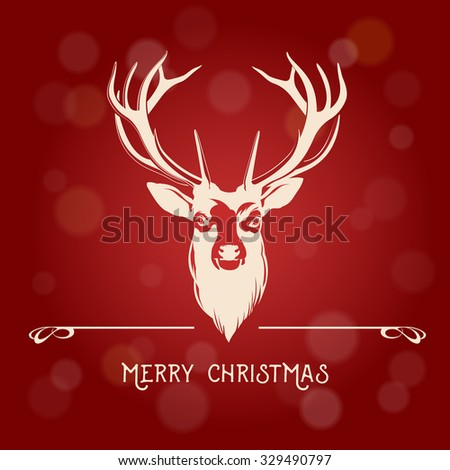 Merry Christmas message with Deer on light background - stock vector