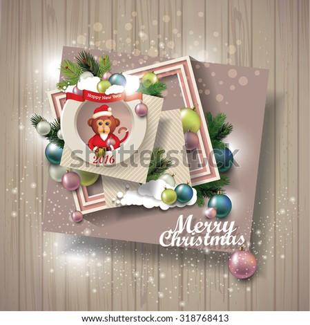 merry christmas on wooden texture. scrapbook elements  - stock vector