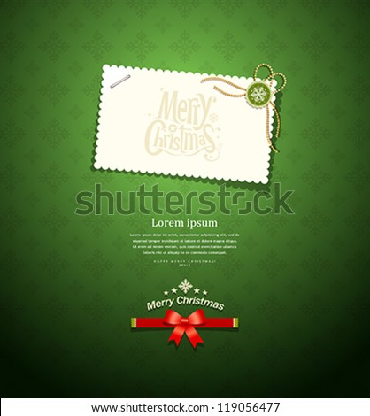 Merry christmas paper white card message on green background, vector illustration - stock vector