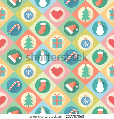 Merry Christmas pattern. Vector illustration of flat design - stock vector