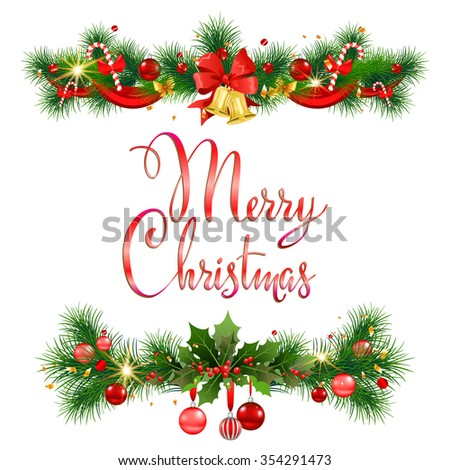 Merry Christmas pine decoration for design card, banner,ticket, leaflet and so on. - stock vector