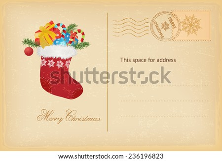 Merry Christmas post card in vintage style Vector illustration - stock vector