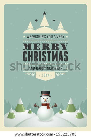 Merry Christmas postcard with snowman background. Vector illustration Eps 10. - stock vector
