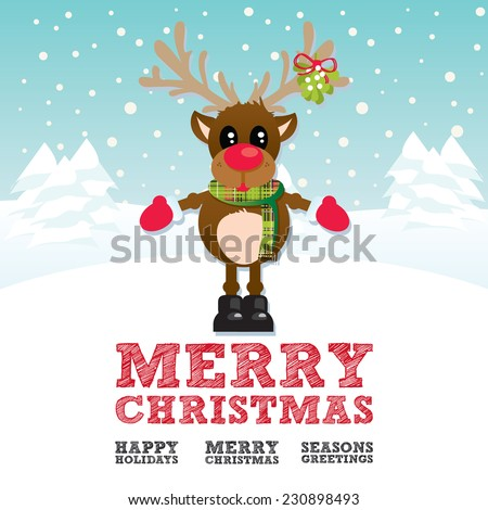 Merry Christmas Reindeer on a blue snowy background with multiple Christmas text banners and snowflakes - stock vector