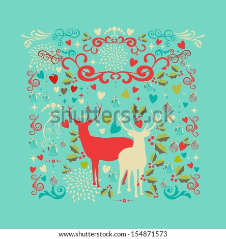 Merry Christmas reindeers shape and love elements composition. EPS10 vector file organized in layers for easy editing. - stock vector