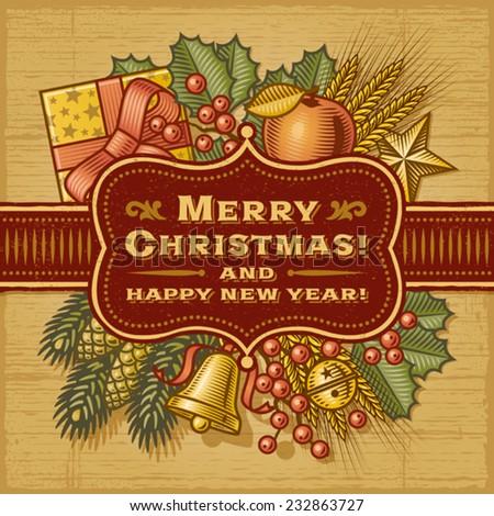 Merry Christmas Retro Card. Fully editable EPS10 vector. - stock vector