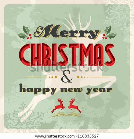 Merry christmas retro greeting card with jumping deer over grunge background. EPS 8 vector, cleanly built with no open shapes or strokes ordered in layers for easy editing. - stock vector