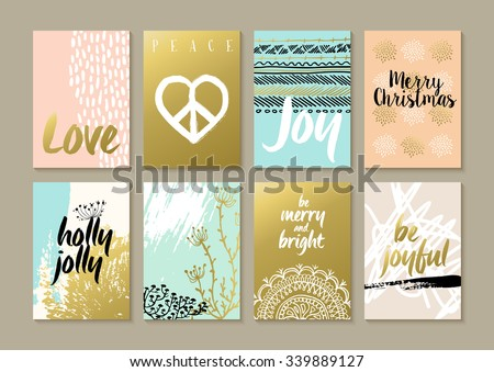 Merry Christmas retro hipster boho card template set with vintage hippie style elements and trendy holiday text quotes in gold metallic color. Ideal for xmas greetings. EPS10 vector.   