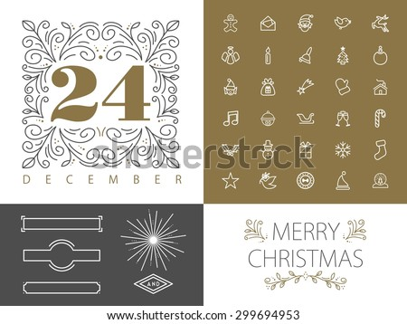 Merry Christmas retro vintage hipster set of monogram frames borders and icons in  line style design. Ideal for greeting card and xmas print poster. EPS10 vector file. - stock vector
