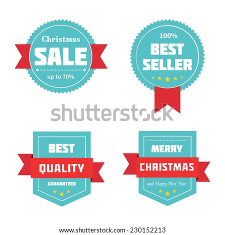 Merry Christmas sale badges. Vector illustration. - stock vector