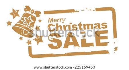 merry christmas sale, stamp golden colour - stock vector