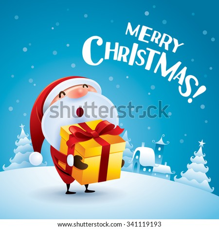 Merry Christmas! Santa Claus holding a gift in Christmas snow scene. - stock vector