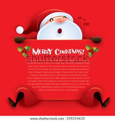 Merry Christmas! Santa Claus with big sign  - stock vector