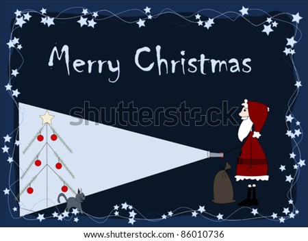 Merry Christmas - santa is coming - stock vector