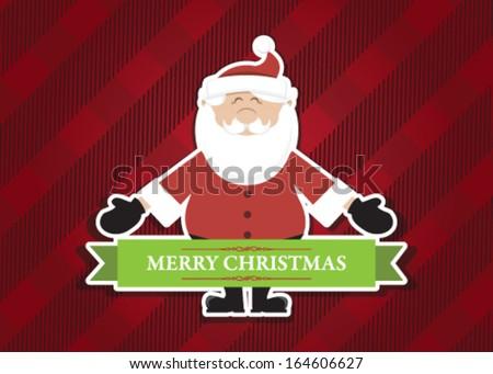 Merry Christmas Santa Open arms Plaid - stock vector