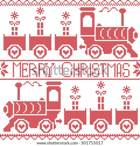 Merry Christmas Scandinavian Nordic pattern with gravy train, Xmas gifts, heart stars, snowflakes in red cross stitch  - stock vector