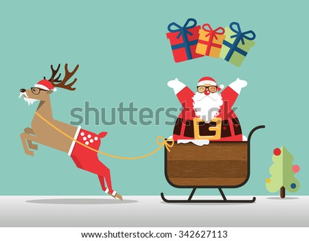 Merry Christmas scene with reindeer, santaâ??s sleigh and santa clause sprinkle the gift. Vector Illustration - stock vector