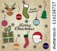 Merry Christmas / Scrapbook Set - vector eps10 - stock vector