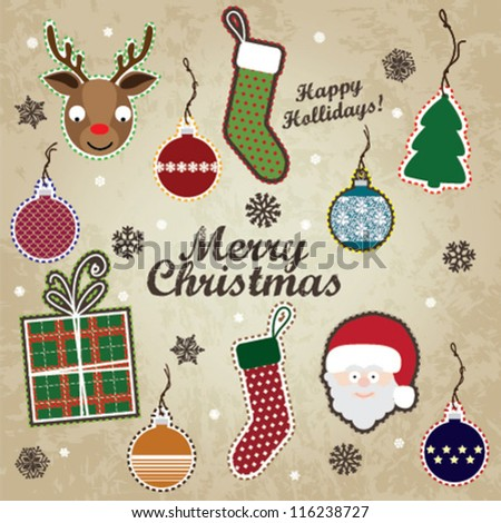 Merry Christmas / Scrapbook Set - vector eps10 - stock vector