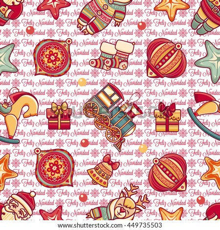 Merry Christmas. Seamless pattern. Abstract background. Holiday ornament. Season decoration. New year template. Congratulation message in Spanish - Feliz Navidad. Best for greeting card.Vector  - stock vector