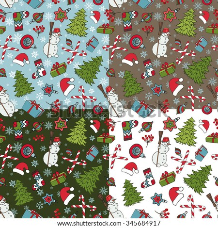 Merry Christmas seamless pattern set.New year,Winter doodles symbols. Fir tree,snowman,gifts,balls,snowflakes background.Flat vector,holiday decoration,bright colors - stock vector