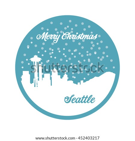 Merry Christmas Seattle, turquoise background, snow, Seattle skyline, vector - stock vector