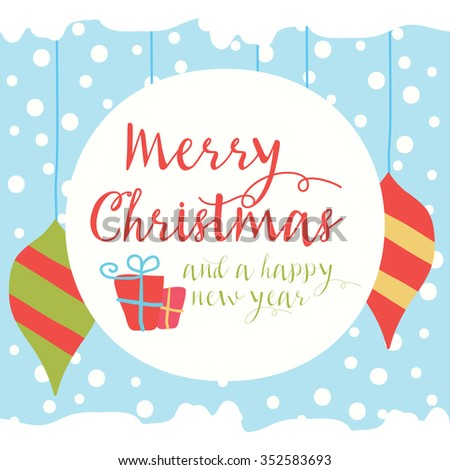 Merry Christmas snowy greeting card and background - stock vector