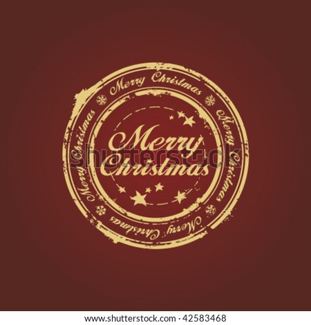 Merry Christmas stamp on claret - stock vector