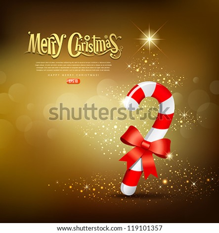 Merry Christmas stave red and white ribbon design, vector illustration - stock vector