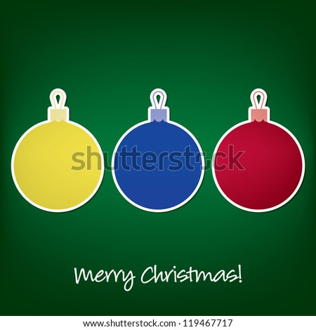 Merry Christmas sticker bauble card in vector format. - stock vector