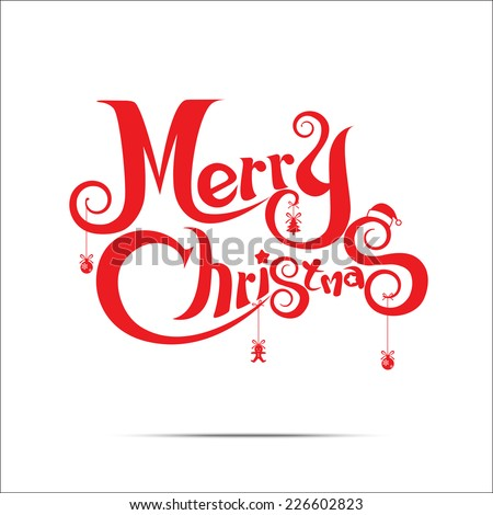 Merry Christmas text free hand design isolated on white background - stock vector