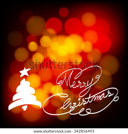 Merry Christmas 2016 text on bokeh night  - stock vector