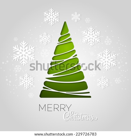 Merry Christmas tree greeting card. Paper design. Vector illustration. EPS 10 - stock vector